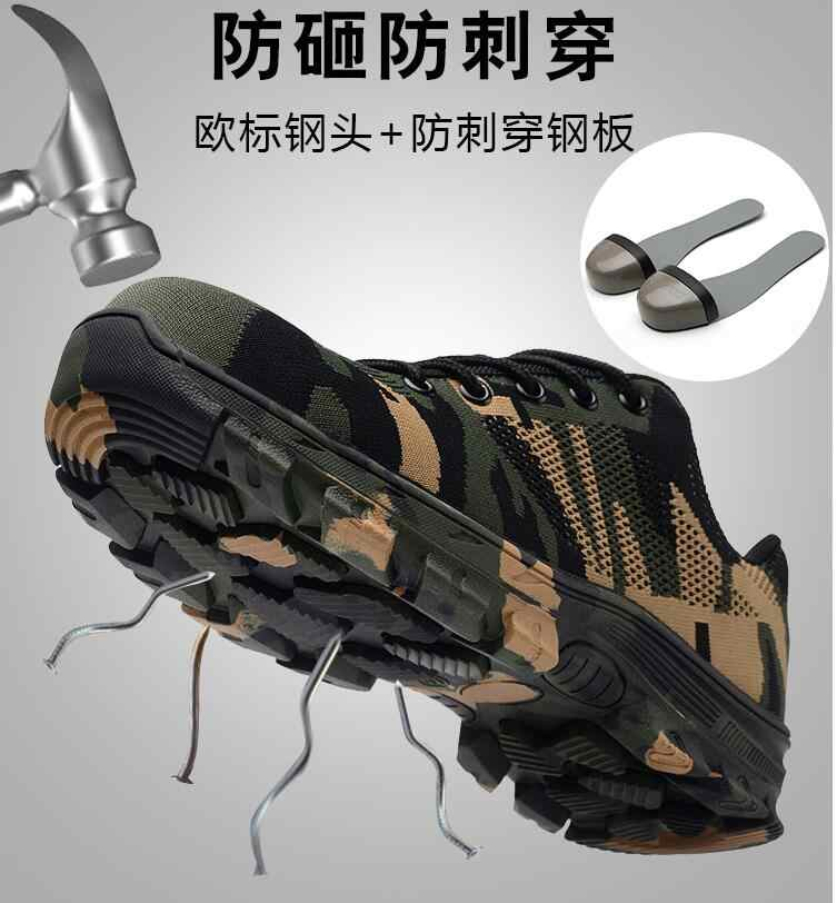 efc312fda2 AMSHCA Plus Size 45 46 Steel Toe Cap Work Safety Boots Shoes Men's Army  Ankle Boot Puncture Proof Indestructible Shoes Outdoor