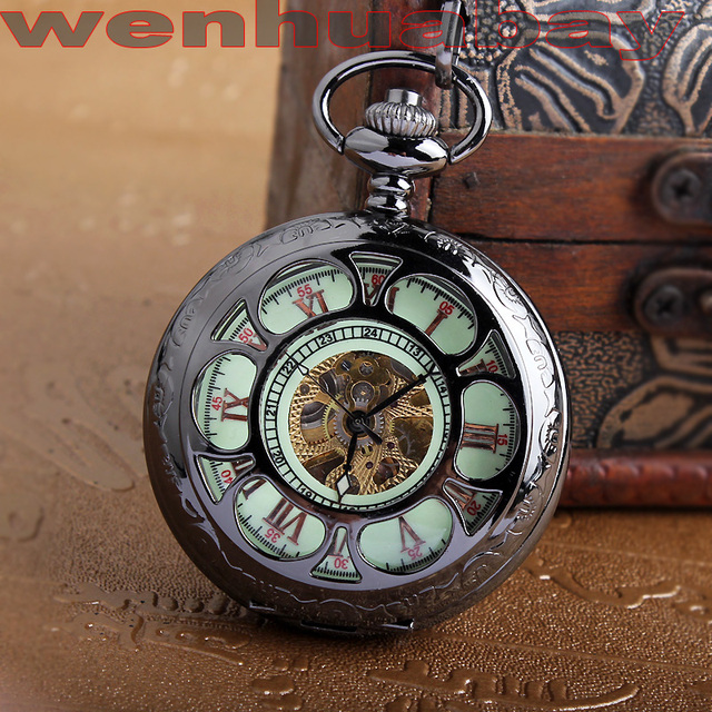 2015 Fashion Men Vintage Hand Wind Pocket Watch Antique Luminous Mechanical Pocket Watch Black Hollow dail With Chain Necklace