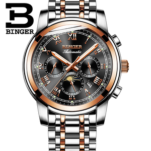 Image 3 - Switzerland Automatic Mechanical Watch Men Binger Luxury Brand Mens Watches Sapphire clock Waterproof relogio masculino B1178 3