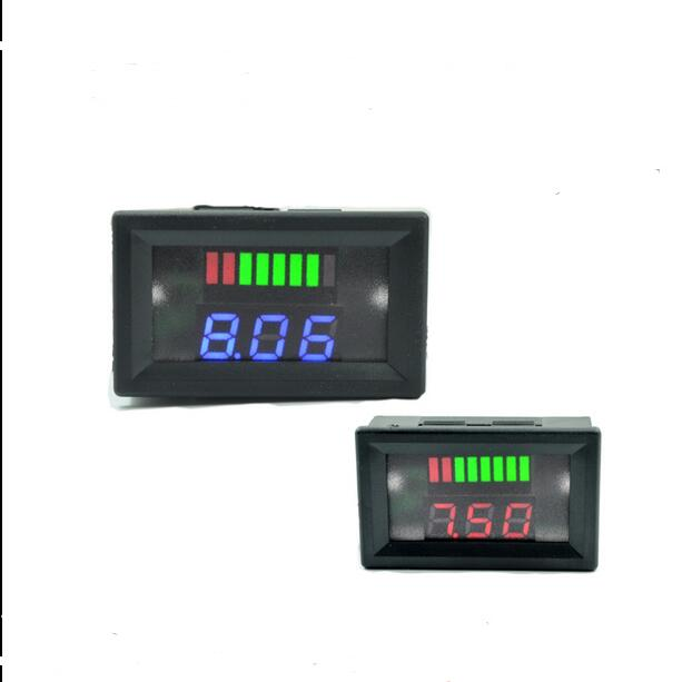 New LED Indicator 12V Lead-acid Battery Capacity Tester Voltmeter Reverse Protection Free Shipping