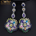 Luxury Multi Colors Cubic Zirconia Long Big Drop Earrings High Quality Women CZ Imitated Diamond Party Costume Jewelry CZ353