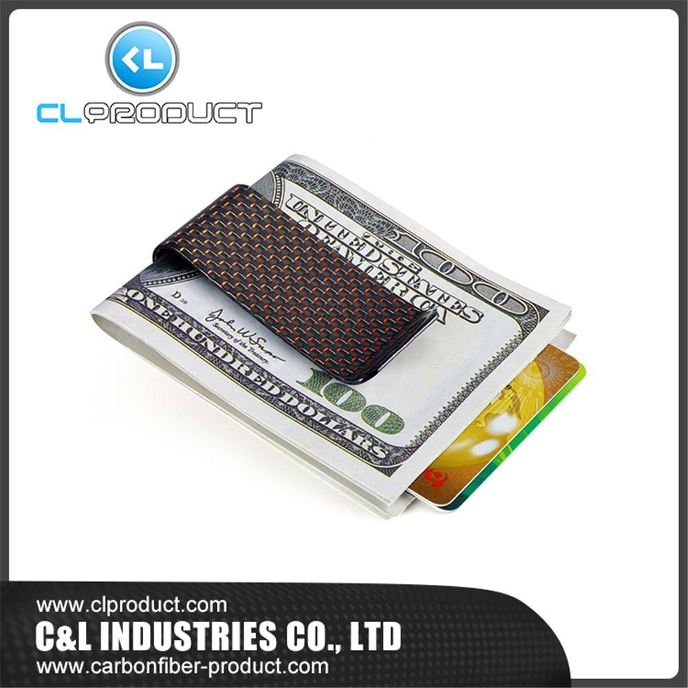 Carbon fiber money clip Red M (3)
