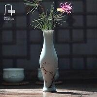 Cień-niebieski Glazury ceramiczne Wazony Wazony Małe słoiki Butelki Blat Ręcznie Malowane Lotos Rośliny Dekoracje Ślubne Umeblowania Artykuł