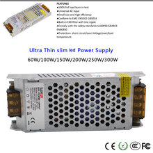 High Voltage Ultra Thin Power Supply 60W/100W/150W/200W/250W/300W 110-240V led Driver for strip light