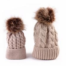3fdfe0e2ef7 2pcs Winter Mom And Daughter Matching Knitted Beanie Cap Keep Warm Faux Fur Hats  Gorro Chapeu
