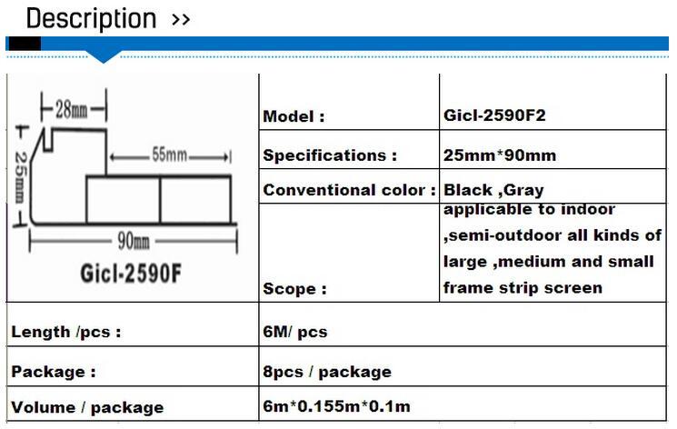 Factory Price 1m/pc 6pcs/lot Gicl 2590F3 9025 Extruded Aluminum Profiles Led Frame Black Frame LED Display Sign Frame Framework