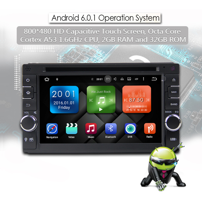 6.2 inch Universally Car DVD player with GPS Android 6.0 Operation System Built In 32GB Inand 2G RAM