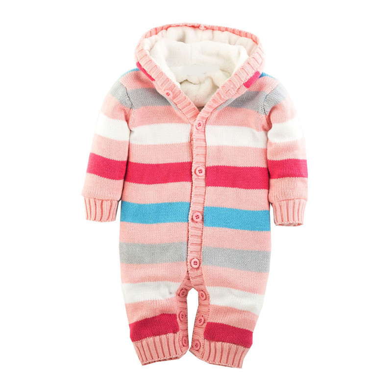 Newborn Winter Warm Thick Baby Boys Girls Jumpsuit Infant Rainbow Color Knitted Sweater Rompers Hooded Outwear Climbing Clothes free shipping winter newborn infant baby clothes baby boys girls thick warm cartoon animal hoodie rompers jumpsuit outfit yl