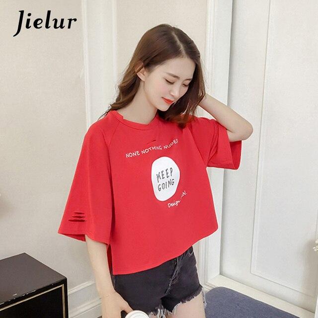 5e2f1c479e4605 Jielur Korean Letter Printed Holes Hollow Summer T-shirt Women Loose Half  Sleeve Chic Cotton