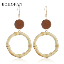 Korea Big Drop Earrings For Women Trendy Wood Circle Round Dangle Earring Fashion Statement Jewelry Gifts Party brincos 2018