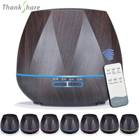THANKSHARE 500ml Diffuser Remote Control Ultrasonic Air Humidifier Wood Grain Aromatherapy Essential Oil Aroma Diffuser