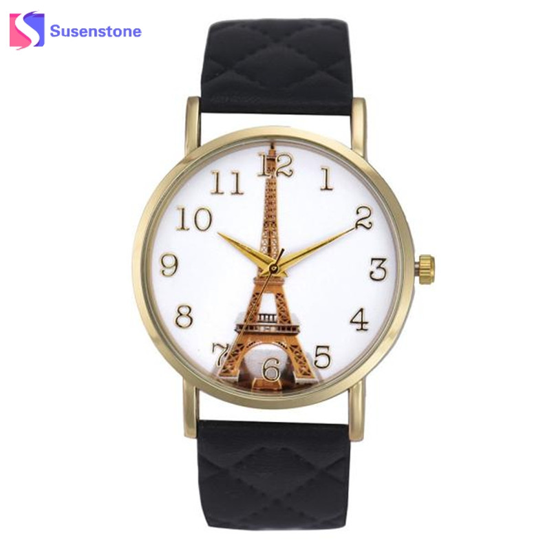 Paris Eiffel Tower Watch Women Quartz Wrist Watch Fashion Casual PU Leather Band Female Clock Ladies Watch Relogio Feminino hot new fashion quartz watch women gift rainbow design leather band analog alloy quartz wrist watch clock relogio feminino