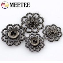 Meetee 10sets Metal flat Snap Buttons Gun black Women Coat 22mm 25mm Round Shape DIY Sewing Clothing Craft