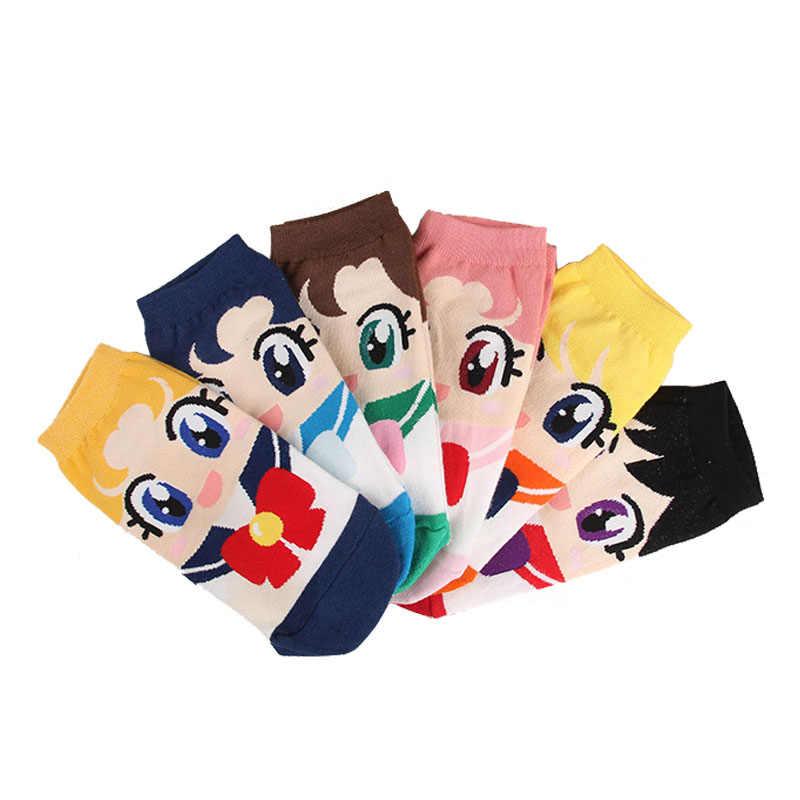 Sailor Moon Mercury Mars Jupiter Venus Cute Cartoon Socks Spring Summer Casual Women's Fashion Cotton Sneaker Socks