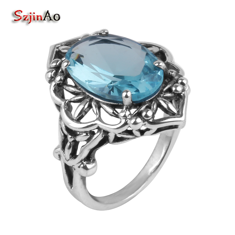Szjinao 925 sterling silver jewelry wholesale high gold and silver details hollow-out aquamarine ring