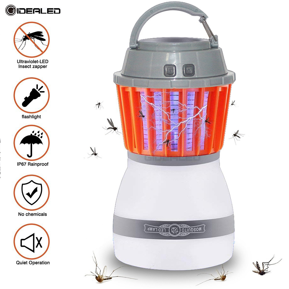 Outdoor Mosquito Killer Light 2 In 1 Zapper Lantern With Solar Powered Panel Portable USB Rechargeable Camping Lamp Waterproof