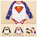Niño recién nacido Bebé Mameluco Del Muchacho Superman Batman Mameluco Del Algodón Niños Ropa Mono Traje