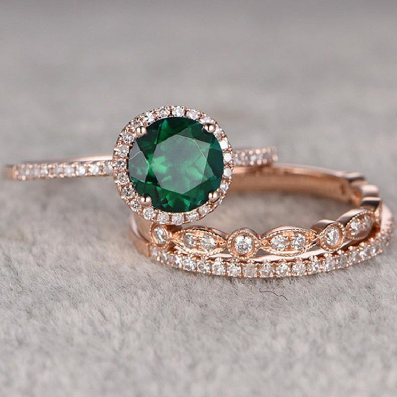 New High Quality 3Pcs/Set Green Stone Crystal Engagement Rings For Women Rose Gold Zircon Vintage Bridal Wedding Ring Jewelry