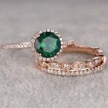 Новое высокое качество 3 шт./компл. зеленый камень с украшением в виде кристаллов Обручение кольца для Для женщин розового золота с цирконием, Винтаж свадебное обручальное кольцо ювелирные изделия