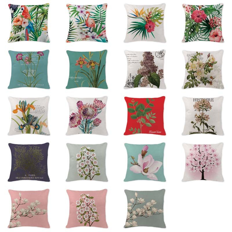 Hot Sale Cushion Cover Vintage Flowers Pear Lavender Pillow Covers Gaming Chair 45*45 Linen Home Decor Sofa Statice Throw Pillow