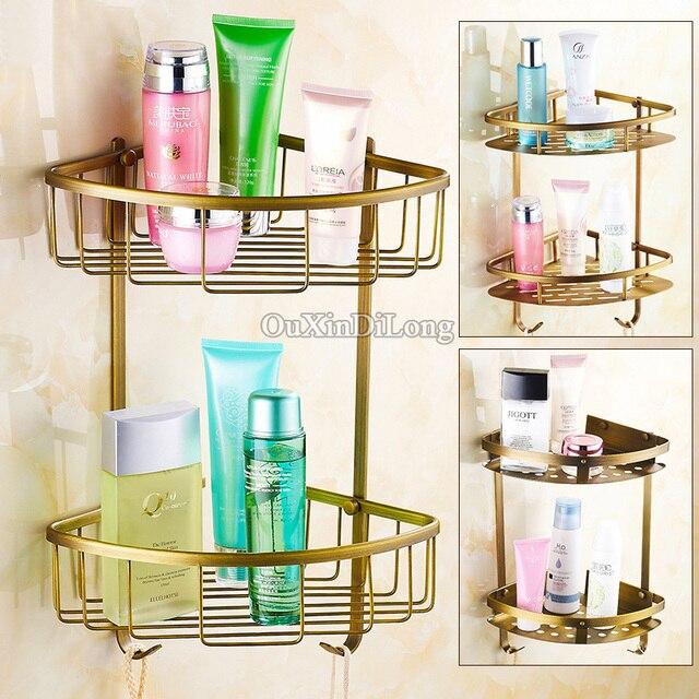 European Antique Wall Mounted Pure Br Vintage Bathroom Shower Shampoo Shelf Basket Holder Single Layer