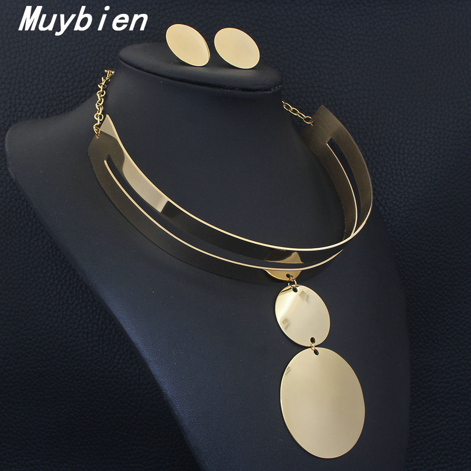 MUYBIEN Fashion Design Alloy Bib Collar Choker Necklace For Women Statement Torques Maxi jewelry Sets Golden Colors SFGKANDA