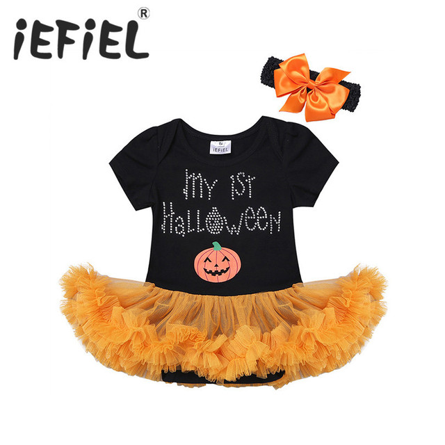 2017 newborn infant baby girls kids my 1st halloween romper with headband outfit for birthday party