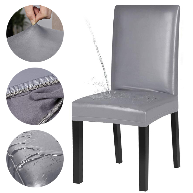 PU Leather Fabric Material Pure Color Chair Cover Waterproof Dining Seat Chair Covers Hotel Banquet Seat Covers Chair Protector