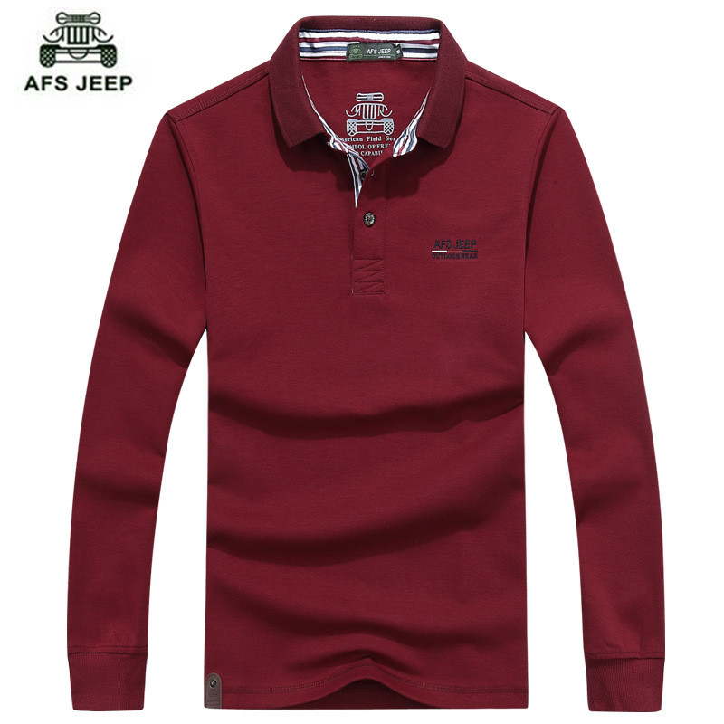 AFS JEEP HOT sell 2016 new fashion Long sleeved polo t male youth men's cotton casual polo shirt 5 color M-3XL  brand men