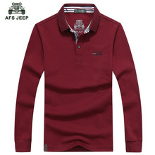3c7c7739 AFS JEEP 2016 Long sleeved polo t male youth cotton casual polo shirt 5  color M-3XL