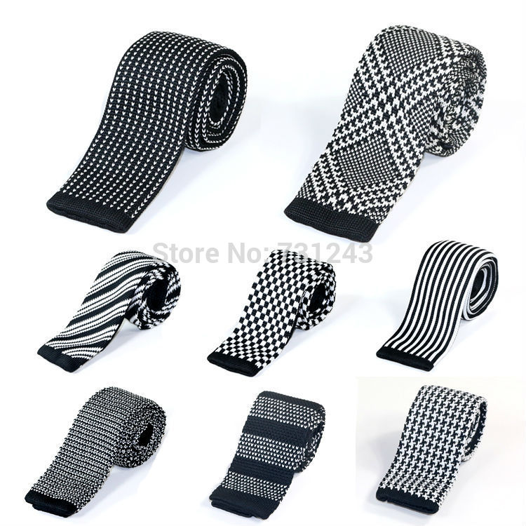 Knitted Slim Ties for men Casual Woven Polyester Skinny Neckties Fashion Striped Mans Neck tie for wedding Free Shipping