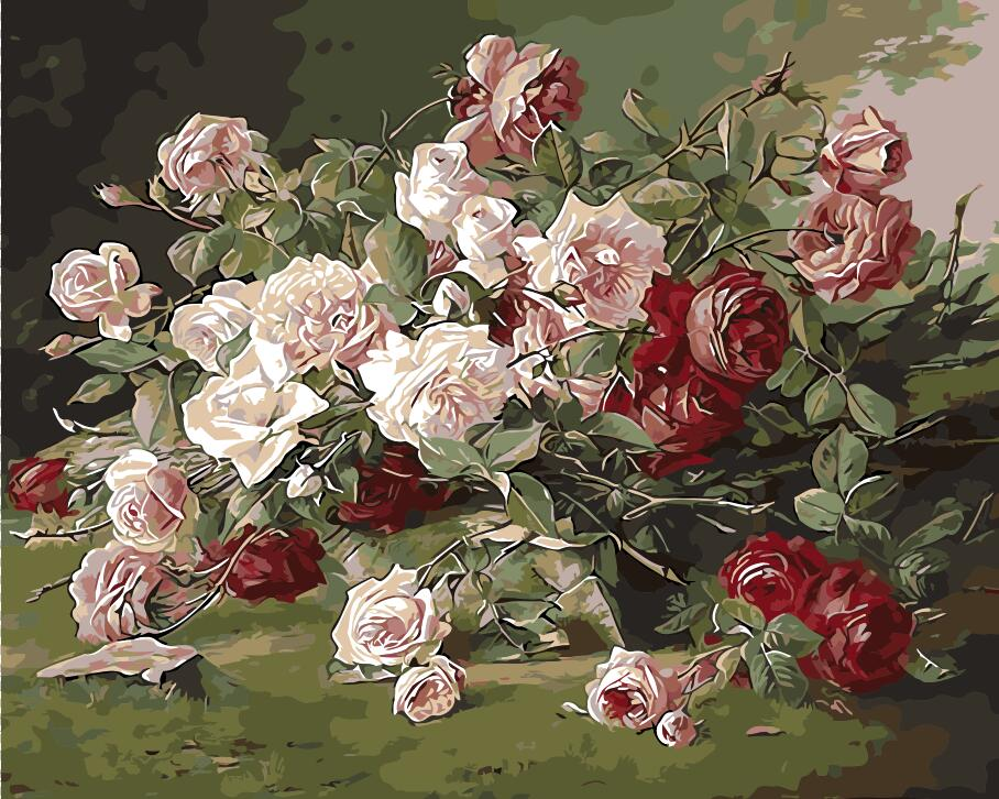 Begonia flower oil Painting picture By Numbers Chinese rose Hand work - Home Decor - Photo 4