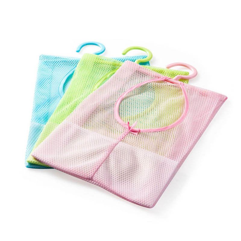 Laundry Basket Kitchen Bathroom Clothesline Storage Dry Pillow Shelf Mesh Bag Hook Clothespin Multi-purpose Net Bag Organizer SZ