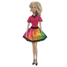 NK 2019 Newest Dress Colourful Dress Doll Clothes Handmade Party Outfit For Barbie Doll Girls' Gift 071B