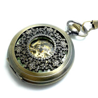 DHL Free Shipping Hot Sale Promotion Top Quality Bronze Hollowed Carved Mechanical Pocket Watch Flip Pocket