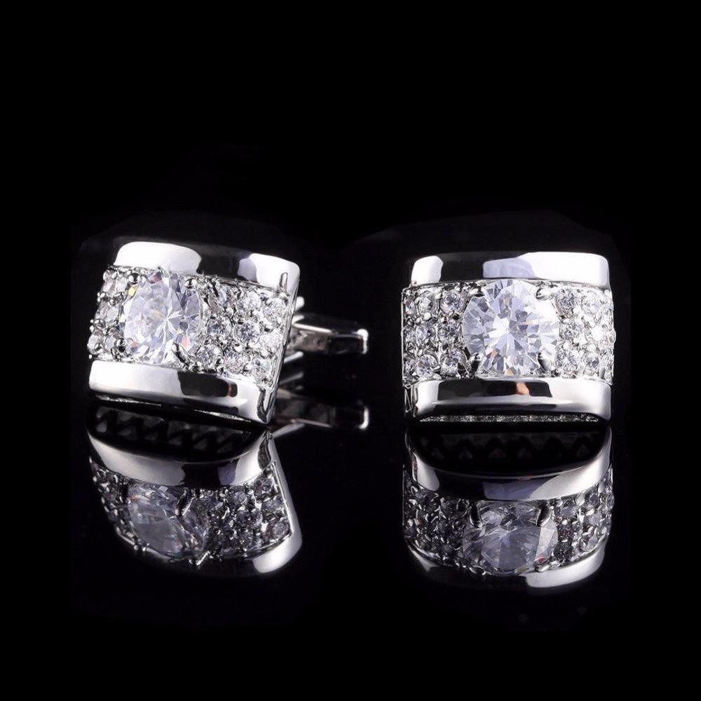 Herren Manschettenknöpfe Shirt Cufflinks Hochzeit Party Diamante Strass