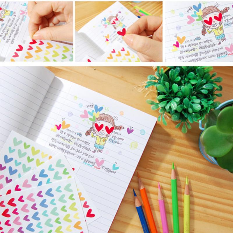 VODOOL 6 Sheet Colorful DIY Photo Album Sticker Love Heart Star Round Circle Rainbow Kids Stationery Diary Scrapbook Stickers 2016 new scrapbook diy photo album cards transparent acrylic silicone rubber clear stamps sheet enjoy