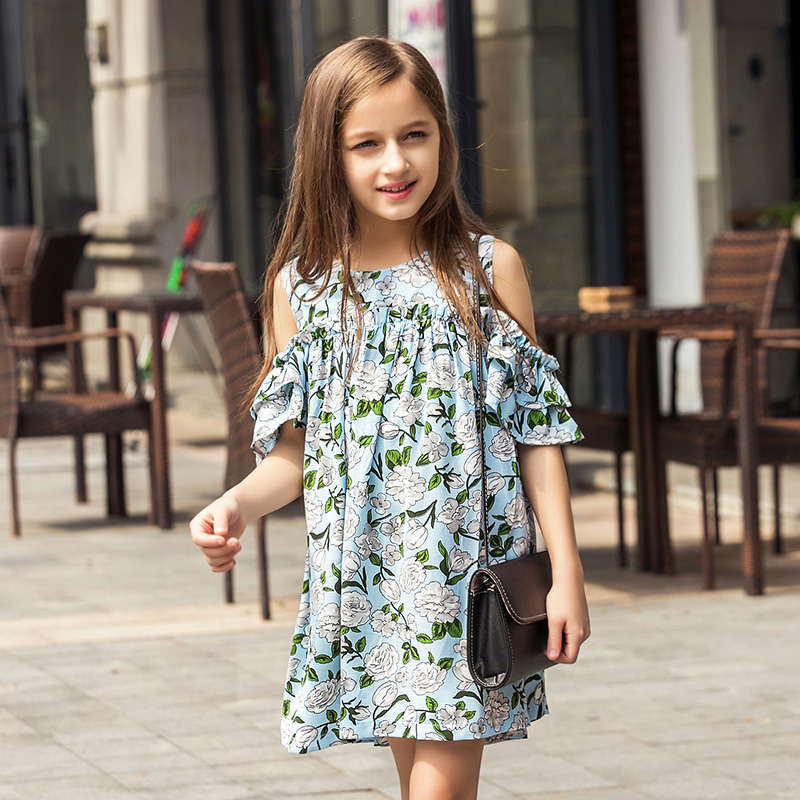 6-15Y Summer Flower Toddler Girls Dress 2017 New Fashion Kids Party Clothes Children's Princess Dresses for Teens Girls flower girl dress party wedding toddler summer girls dresses 2017 new kids clothes clothing new fashion 3 4 5 6 7 8 9 10 years