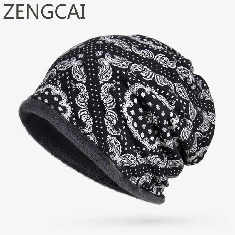 Floral Prints Turban Hat Fleece Watch Cap Winter Cotton   Beanies   For Men Women Hats Scarf Neck Warmer   Skullies     Beanies   Warm Caps