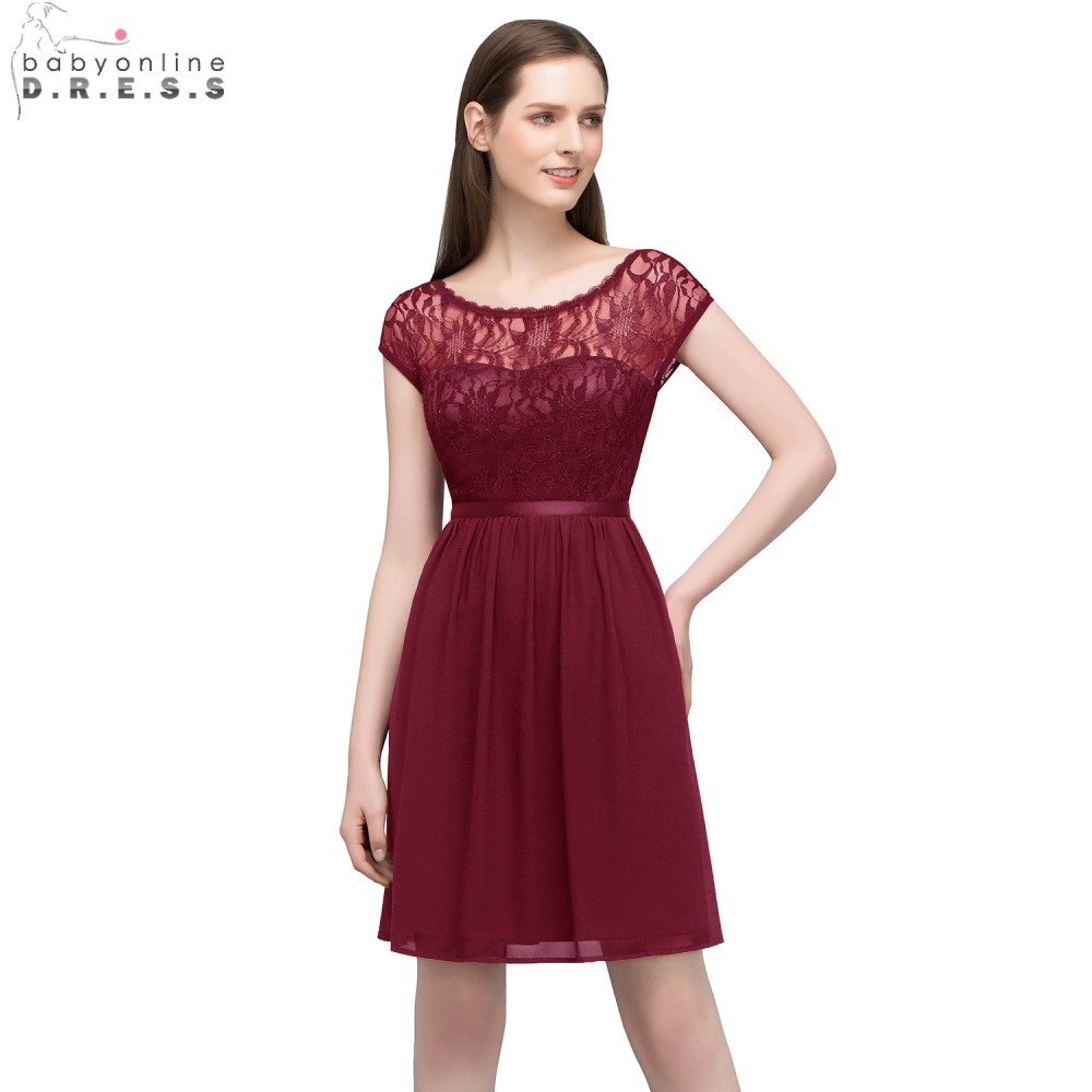 Babyonline O Neck Cap Sleeves   Cocktail     Dresses   2018 Lace Party   Dresses   Sexy Backless Burgundy robe   cocktail   dentelle