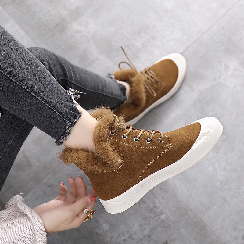 Hiver Casual ChaussuresNoir Couleur Chaussures Simple Plat Confortable Mode Chaud De Unie Velours Plus Sauvage Femmes Nouvelle 2018 Tendance marron 7yf6Ybgv