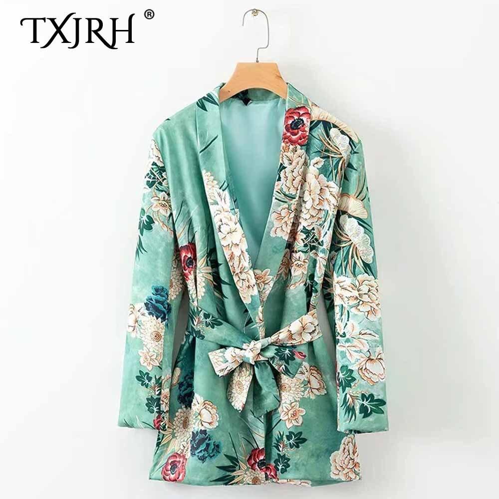 Women Ethnic Flower Print With Sashes Kimono Shirt Retro New Bandage Cardigan Blouse Tops Blusas Chemise Femme Blusa High Quality Materials Women's Clothing