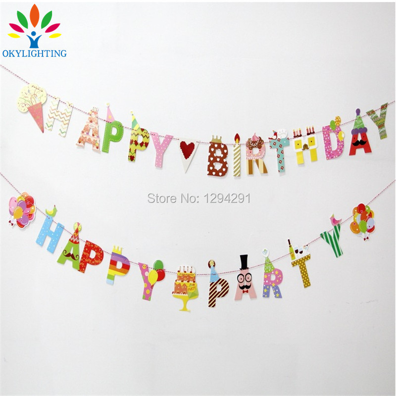 Okylighting 1 Set Paper Letter Shape Happy Birthday Balloon Baby Birthday Party