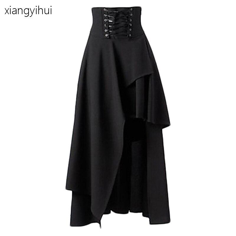 Goth gothique Punk victorien noir jupes femmes automne hiver pansement longue Maxi jupe rue taille haute jupe longue femme SKT052