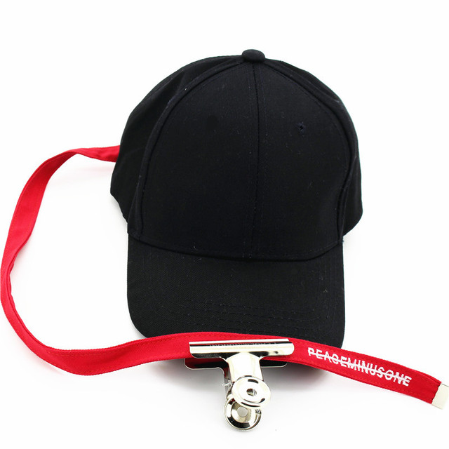 Newly Black Baseball Caps With Long Strap And Clip For Women Men Korean  Snapback Cap Plain 64b54542bc2