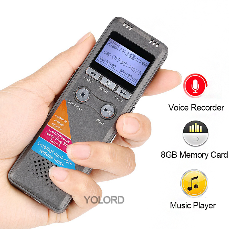 Nett 8 Gb 1600 Mah 96hrs Arbeits Smart Stimme Aktiviert Aufnahme Digital Lcd Bildschirm Audio Recorder Passport Wiederholen Stift Mp3 Musik Player Tragbares Audio & Video