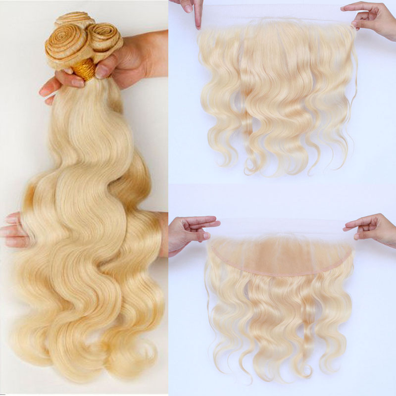 613 Bundles With Frontal Brazilian Hair Weave Body Wave Blonde Bundles With Closure Human Hair Bundles With Frontal Closure Remy