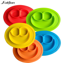 Fulljion Baby Bowls Plate Tableware Children Food Container Placemat Dishes Infant Feeding Cup Child Silicone Kids Feed Plate