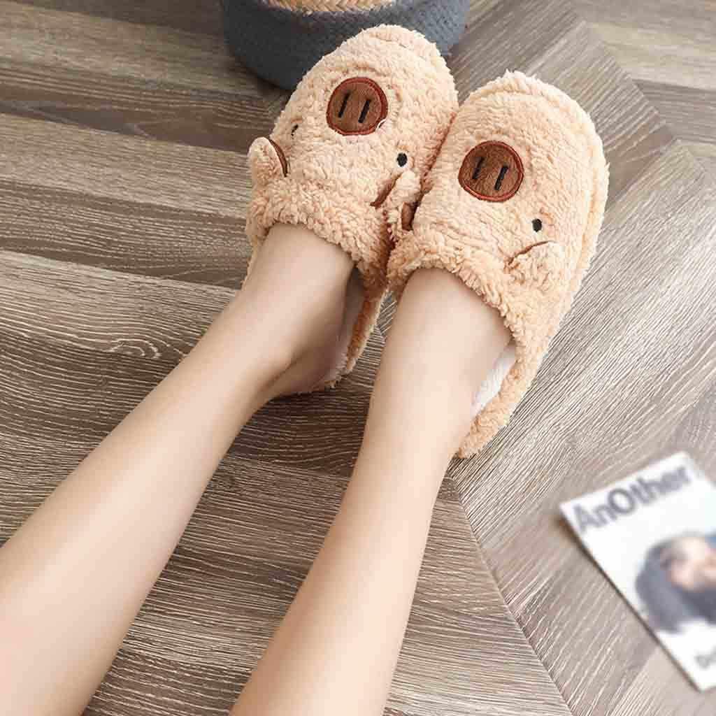 2019 nouvelles belles femmes bascule mignon cochon forme maison étage doux rayure pantoufles femme chaussures filles hiver printemps chaud chaussures