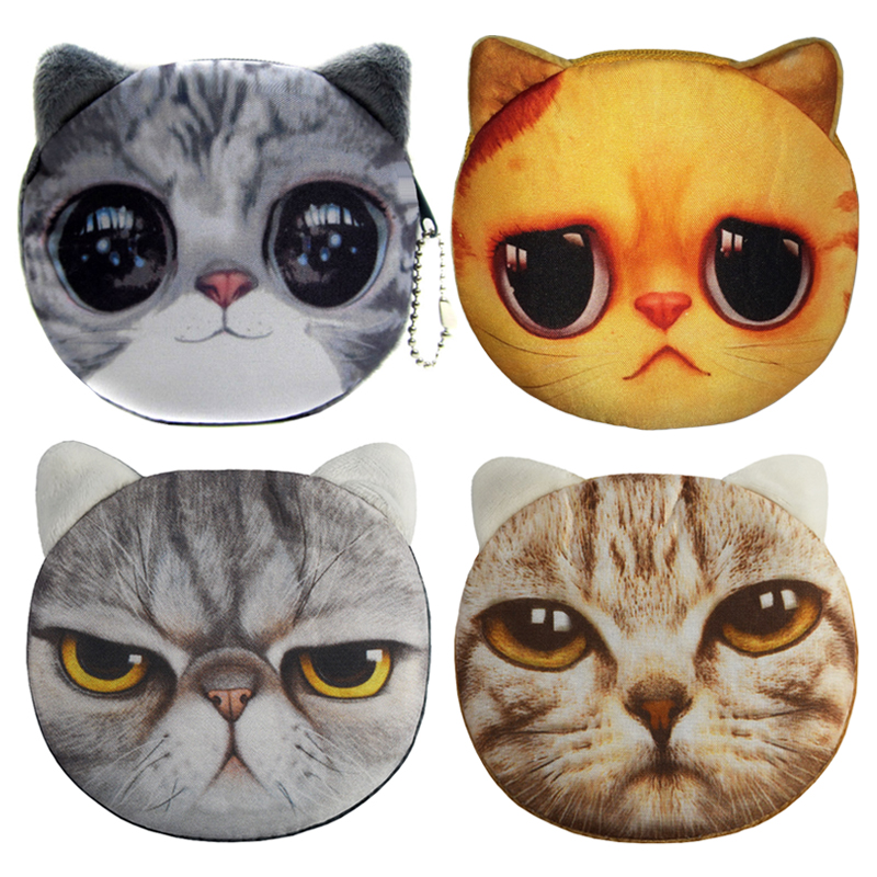 2016 New Cartoon Coin Wallet 3D Cute Cat Face Coin Purse Women Zipper Coin Bag